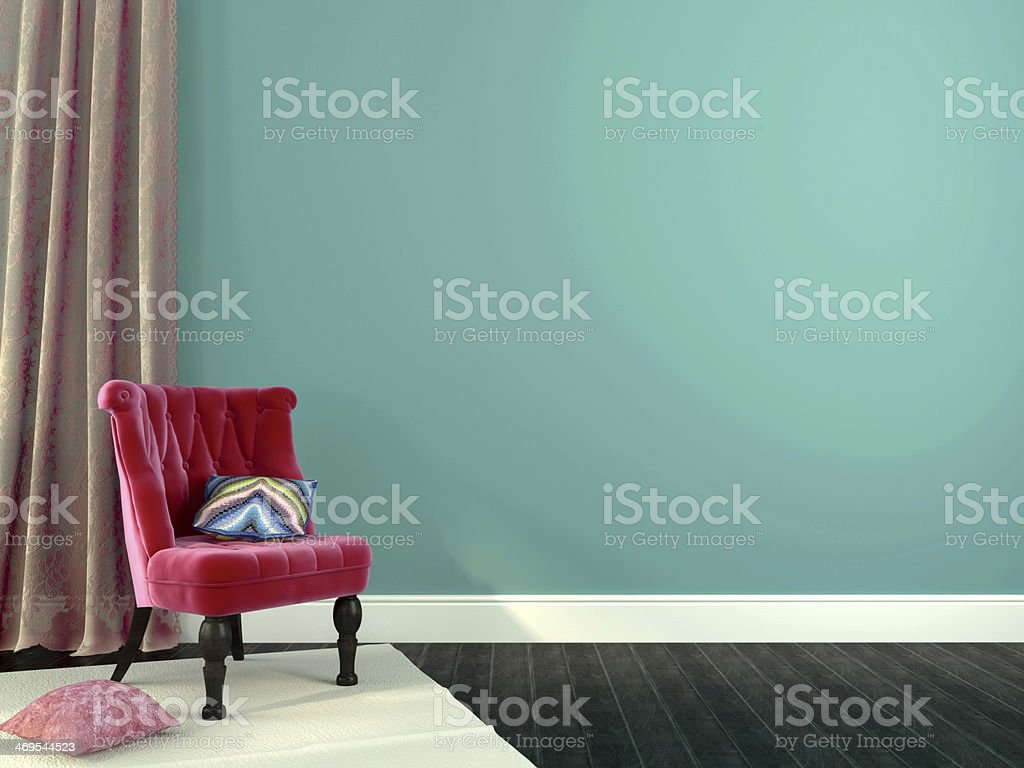 Luxurious pink chair with decorations stock photo