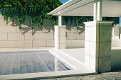 Luxurious pool with patio side