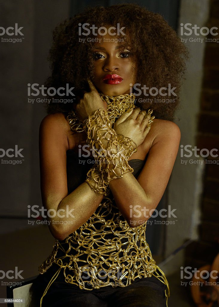 Luxurious portrait of sexy african american female model with glossy stock photo