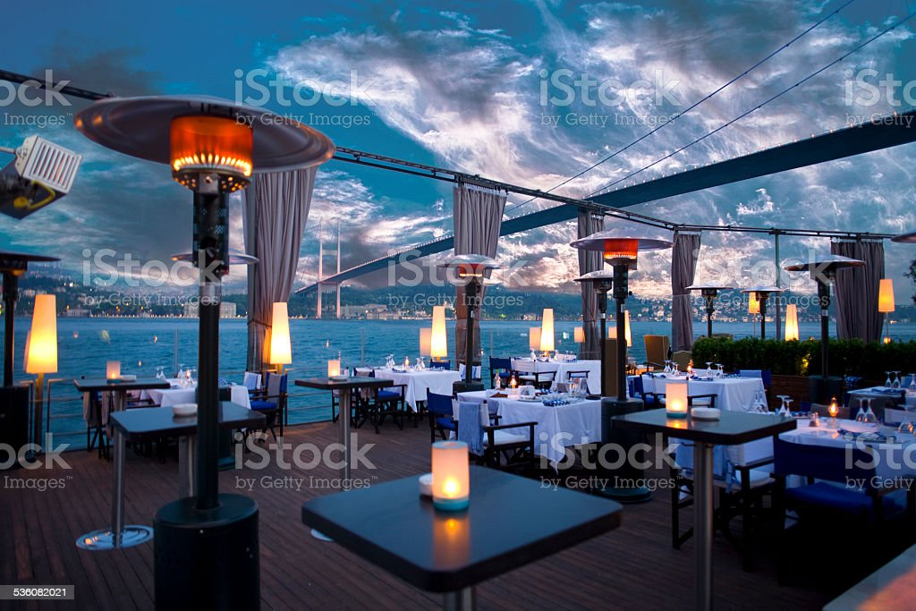Luxurious restaurant and night club in Bosporus Istanbul Turkey stock photo