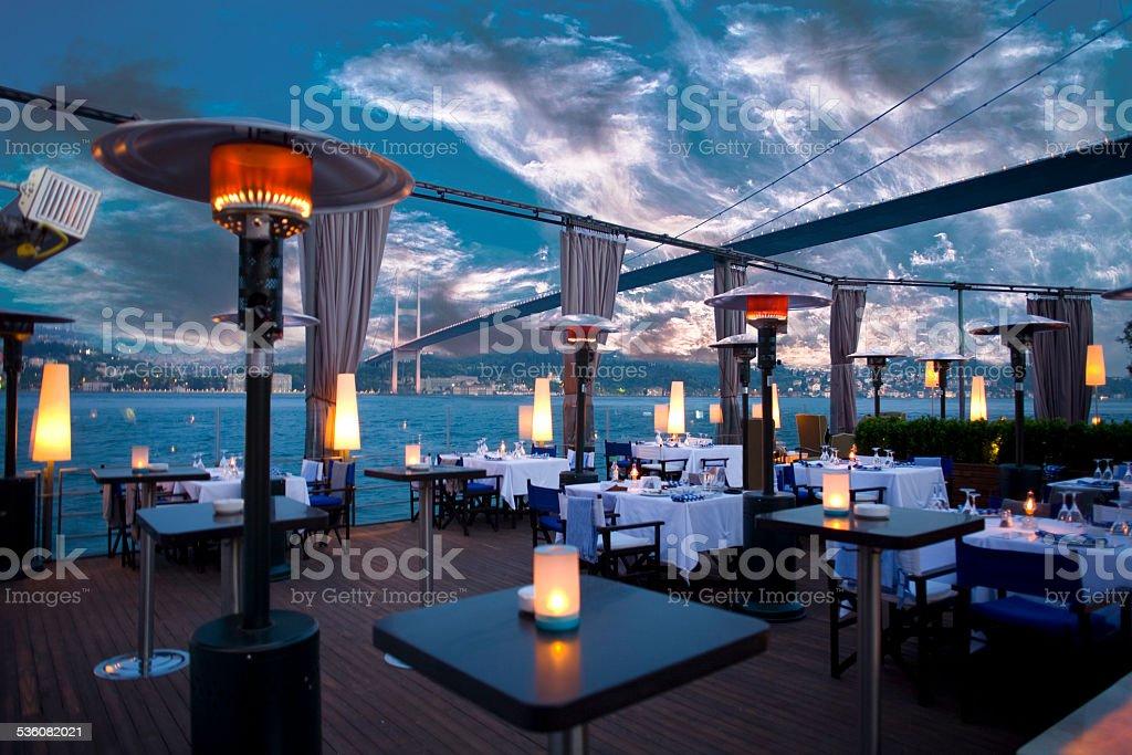 Luxurious restaurant and night club in Bosporus Istanbul Turkey stock photo