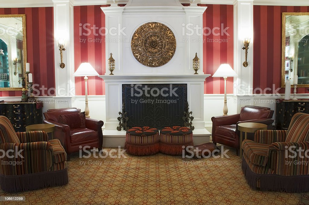 Luxurious Room with Fireplace and Mantle royalty-free stock photo