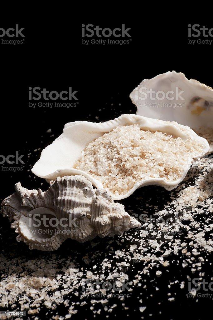 Luxurious sea salt background. stock photo
