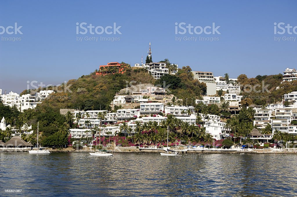 Luxurious seaside villas, Manzanillo, Mexico stock photo