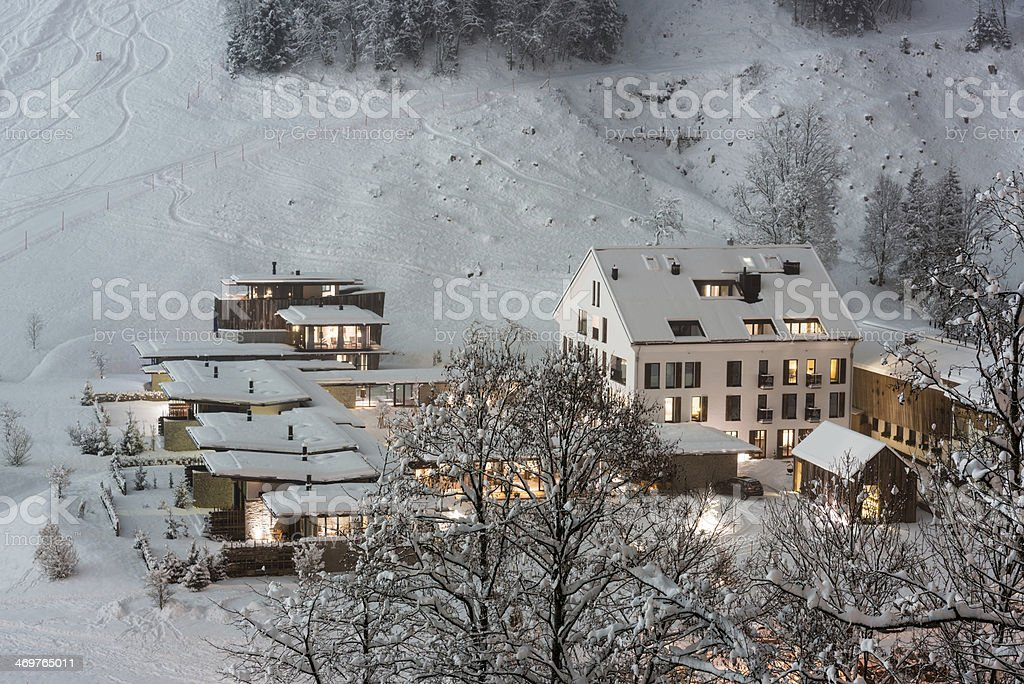 Luxurious ski resort stock photo