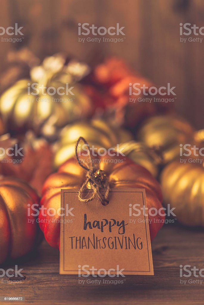 Luxurious still life arrangement with message for Thanksgiving stock photo