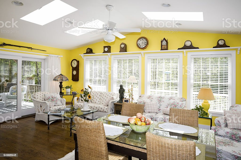 Luxurious sun room for dining stock photo