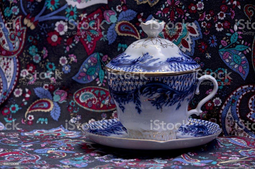 Luxurious tea cup stock photo