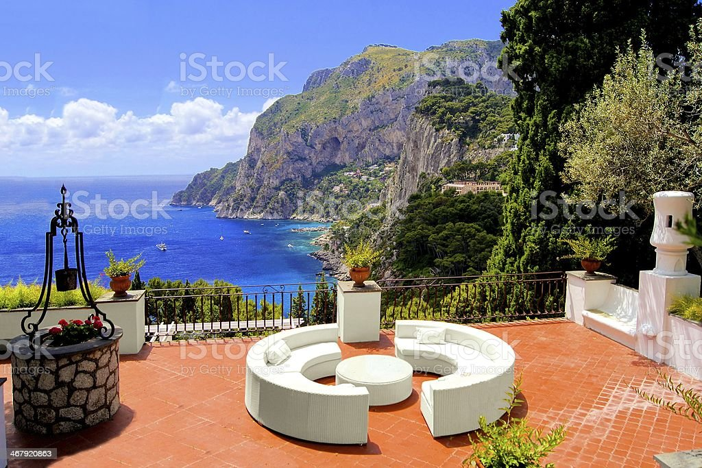 Luxurious terrace on the island of Capri, Italy stock photo