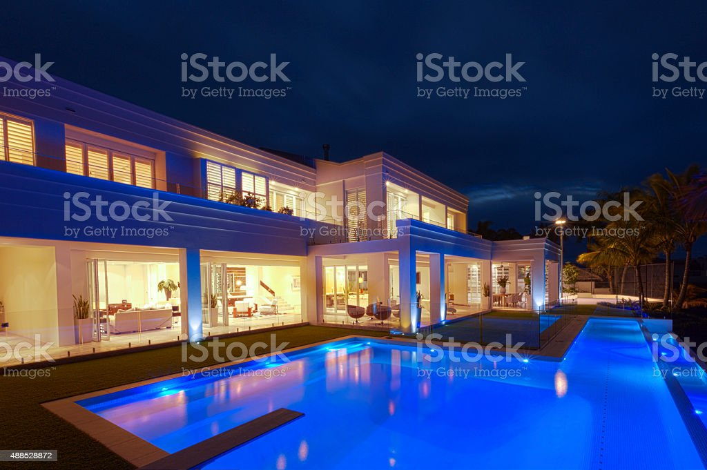 Luxurious villa with a big pool stock photo
