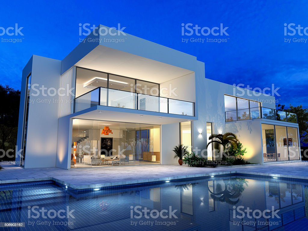Luxurious villa with pool stock photo