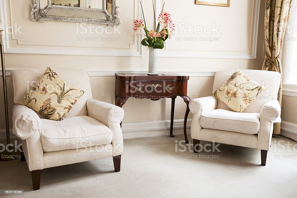 luxurious waiting room with comfortable armchairs stock photo
