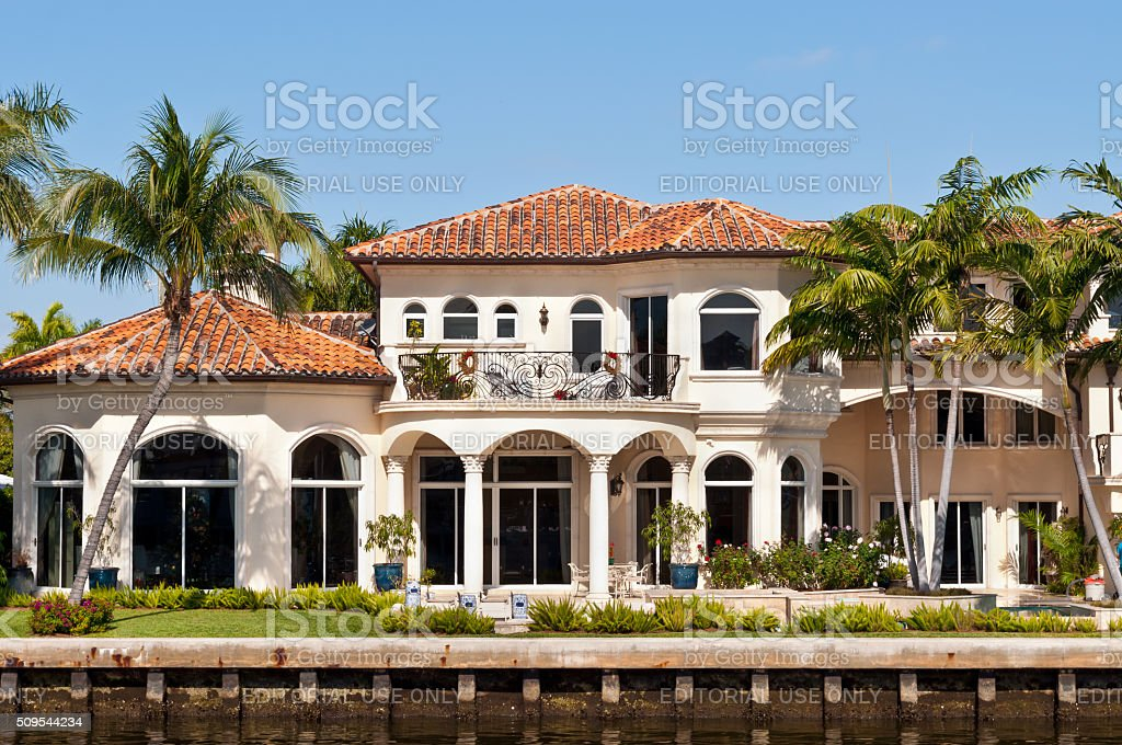 Luxurious waterfront home in Fort Lauderdale, USA - Luxury mansion stock photo