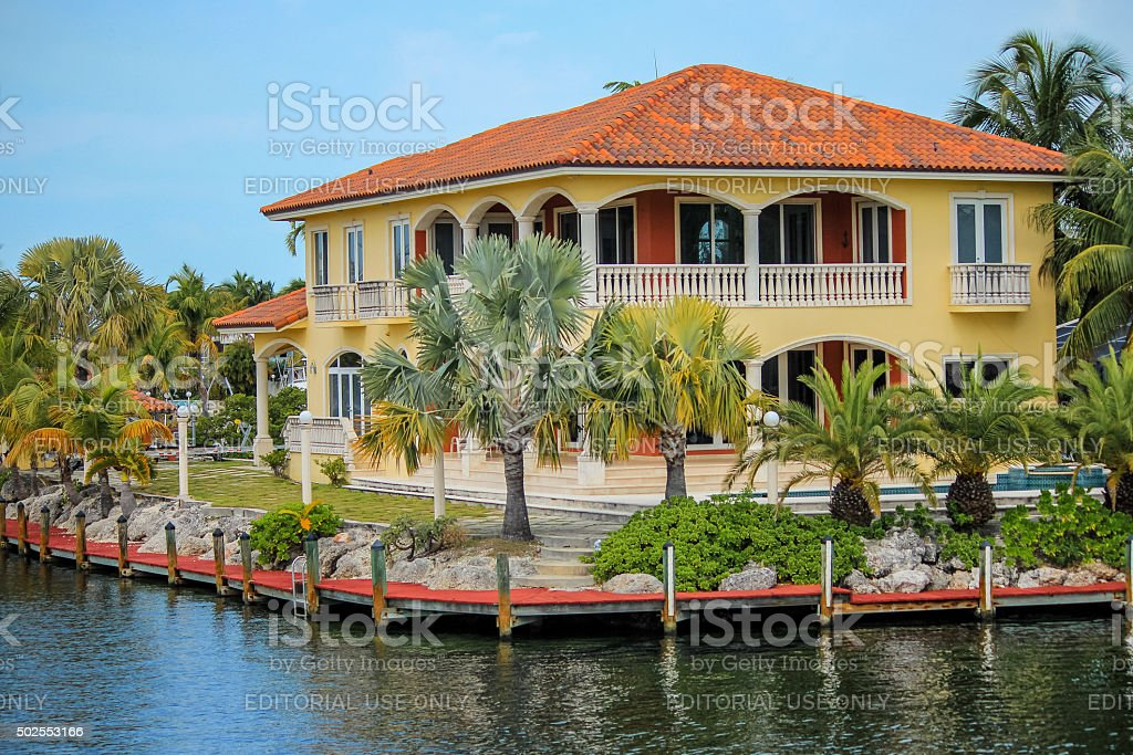Luxurious waterfront vacation stock photo