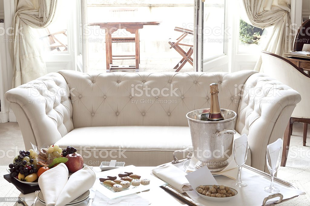 Luxurious Welcome in Paris Hotel Suite royalty-free stock photo