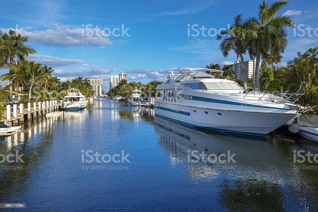 Luxurious yacht and waterfront homes in Fort Lauderdale stock photo