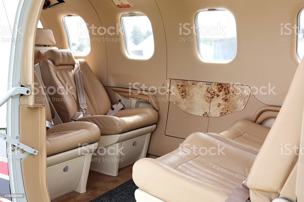 Luxury airplane interior stock photo