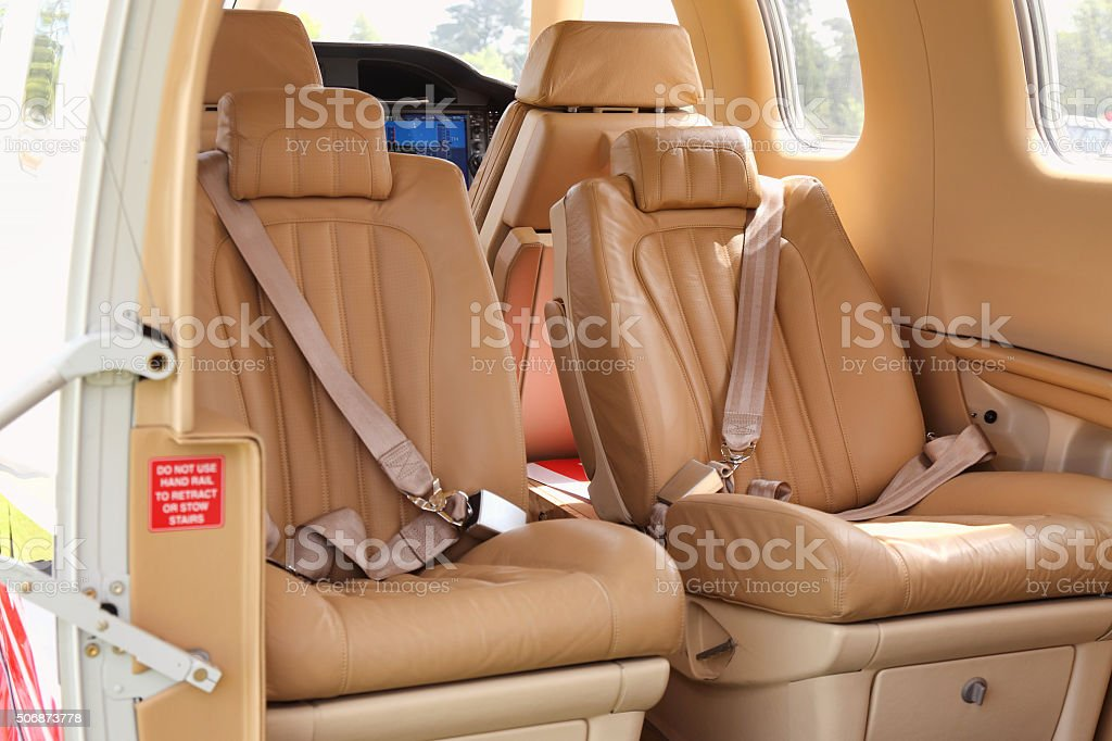 Luxury airplane interior stock photo