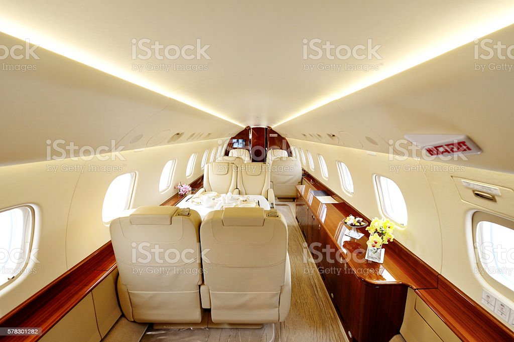 Luxury Airplane Passenger Cabin stock photo