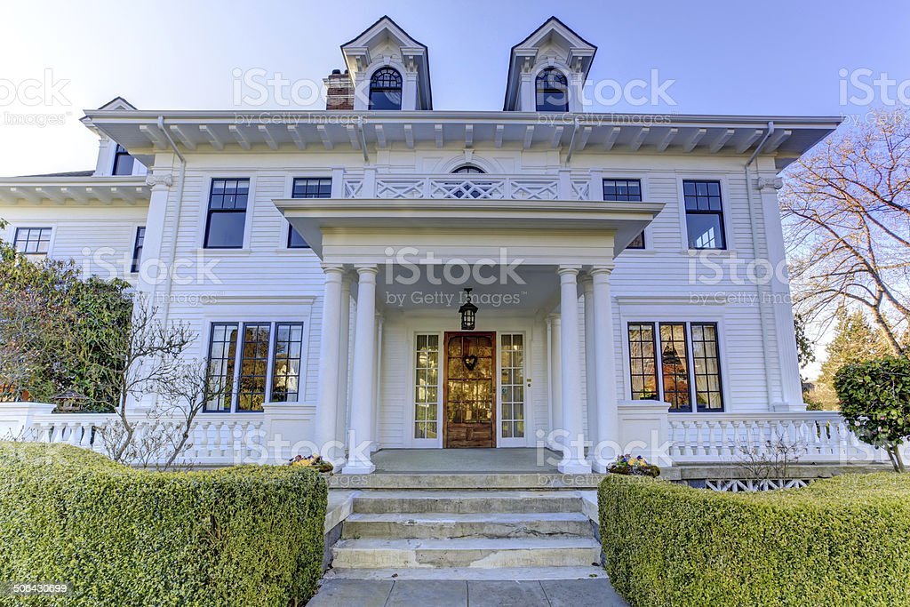 Luxury american house with curb appeal stock photo