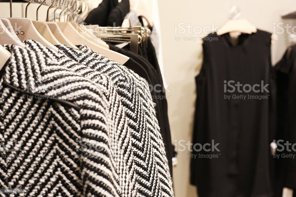Luxury and fashionable clothes shop stock photo