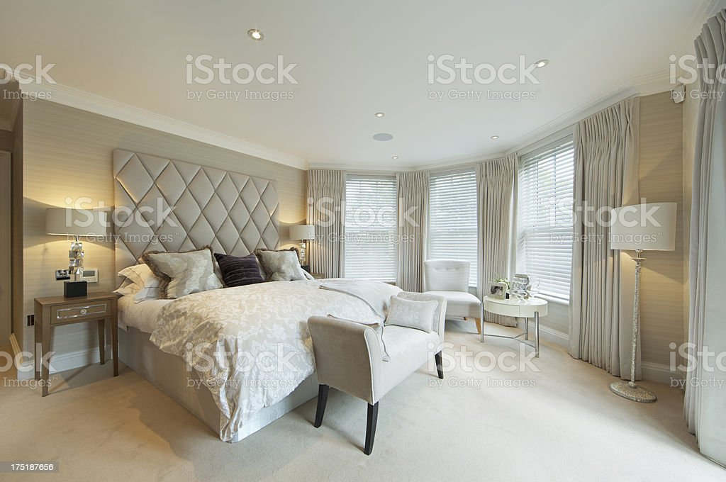 luxury apartment bedroom stock photo
