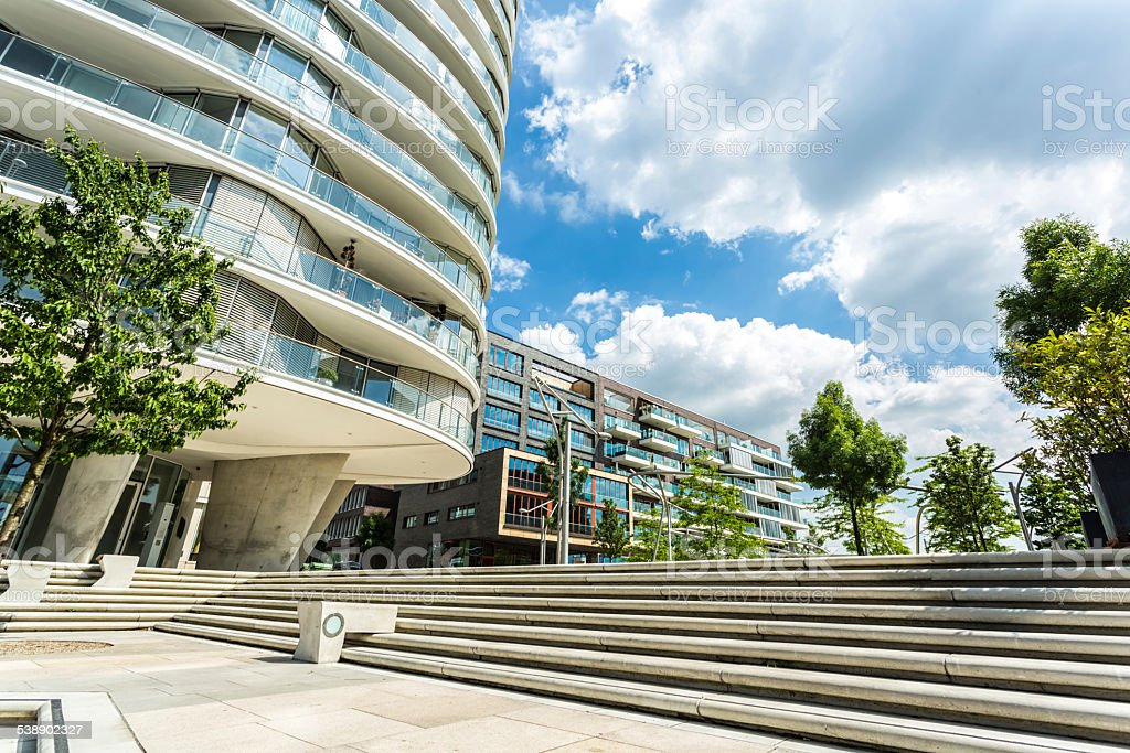 Luxury apartment houses in Hamburg, close to the Hafencity stock photo
