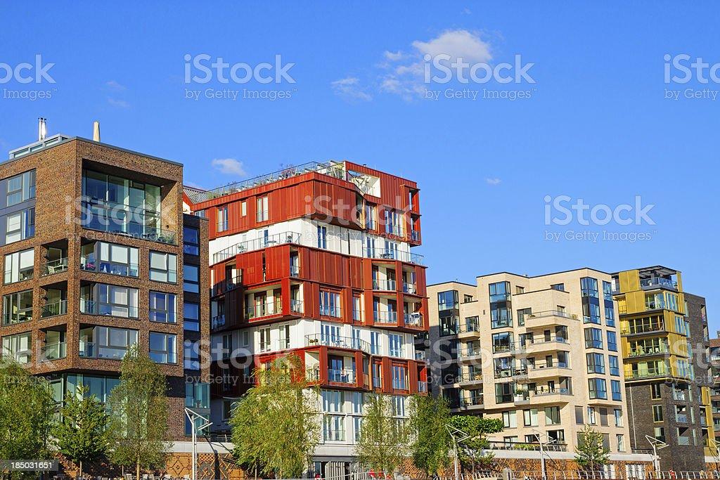 Luxury apartment houses in Hamburg stock photo