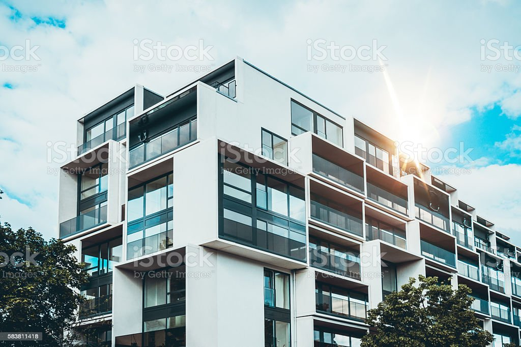Luxury apartment with modular exterior sections stock photo