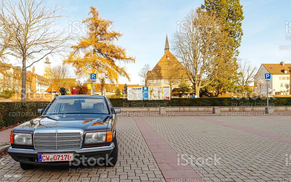 Luxury armored Mercedes-Benz S Klass car stock photo
