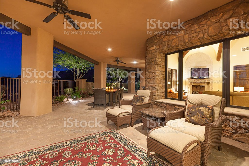 Luxury Backyard Patio stock photo