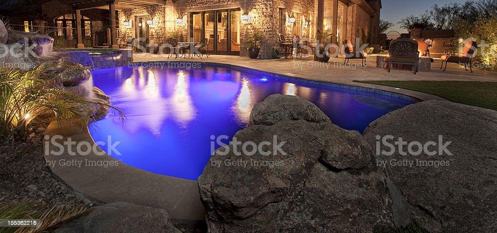 Luxury Backyard Pool royalty-free stock photo