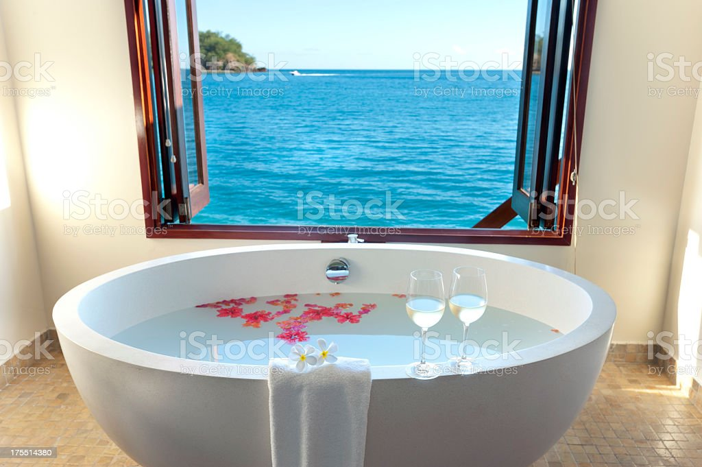 Luxury bathroom at over water resort royalty-free stock photo