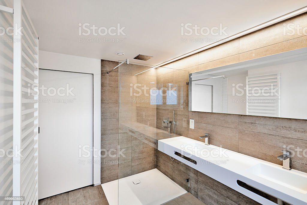 Luxury Bathroom Estate Home Shower stock photo