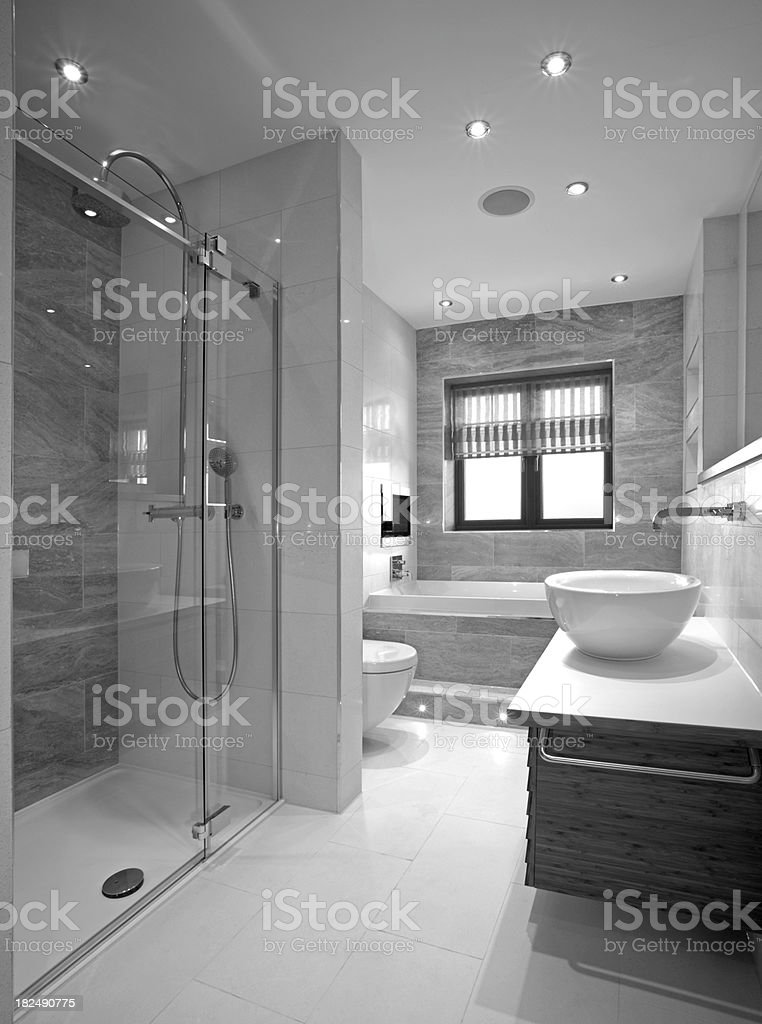 luxury bathroom in black and white stock photo