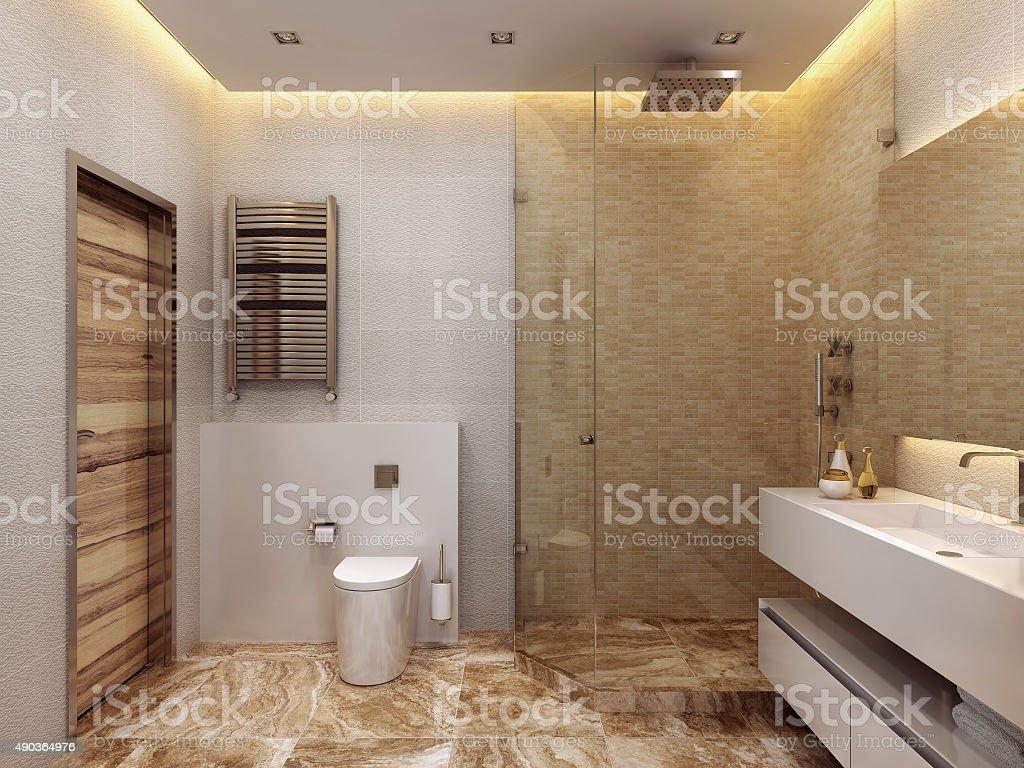 Luxury bathroom in modern style. stock photo