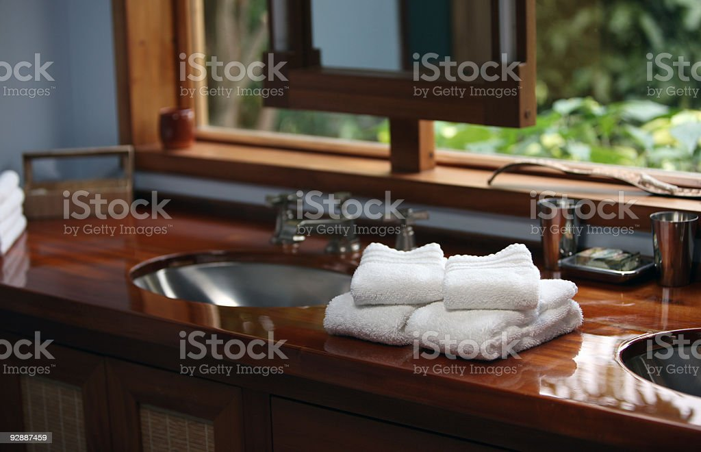 Luxury Bathroom in tropical villa. stock photo