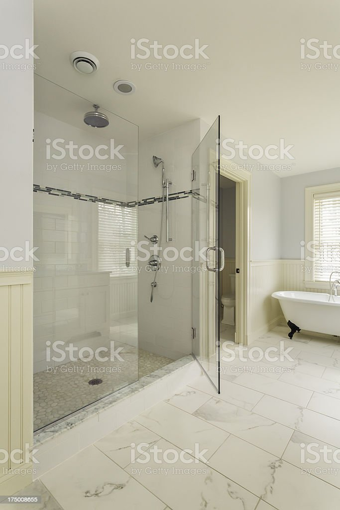Luxury Bathroom with Enclosed Glass Shower stock photo