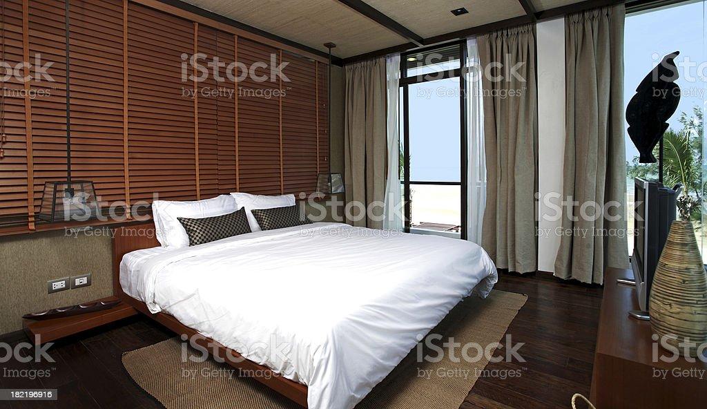 Luxury Beach Villa Overlooking Sea royalty-free stock photo