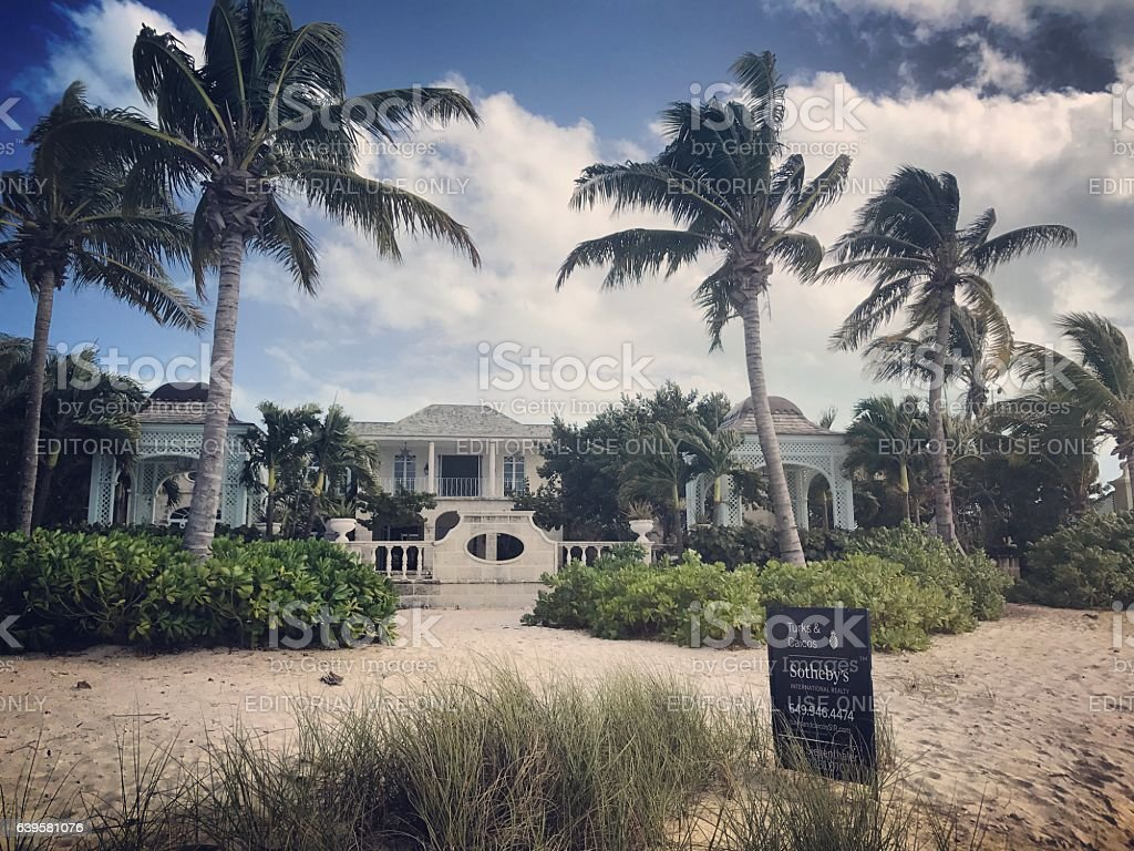 Luxury Beachfront Property on Turks and Caicos islands stock photo