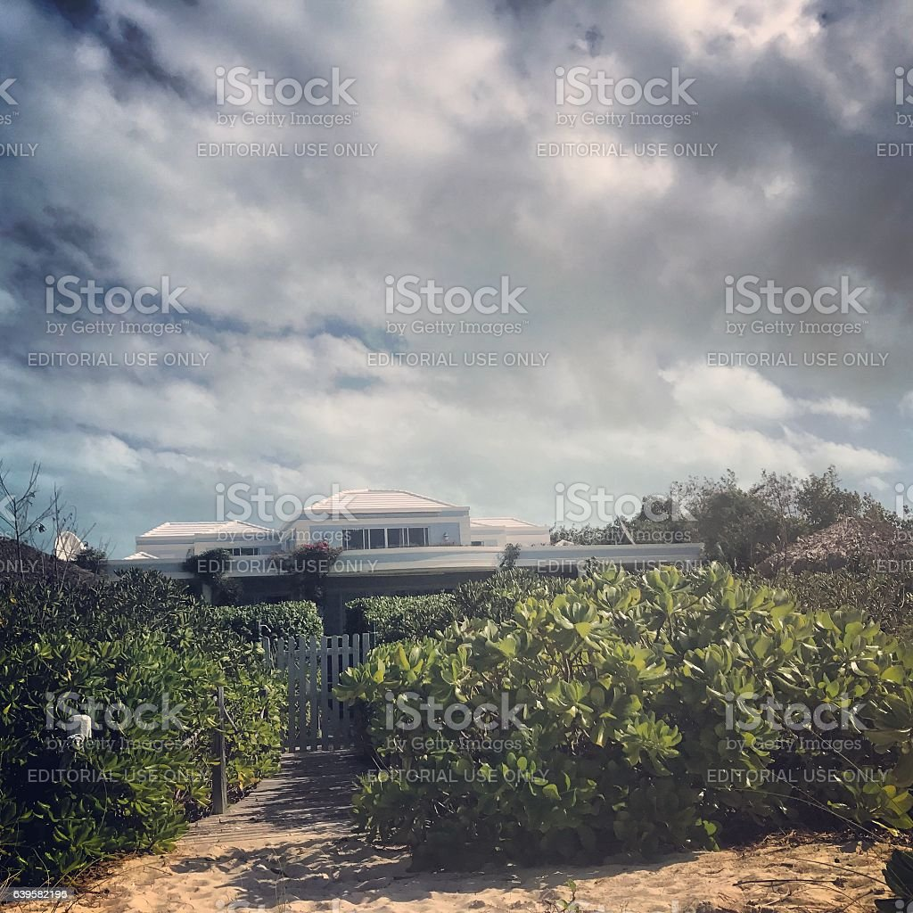 Luxury beachfront property on Turks and Caicos islands stock photo