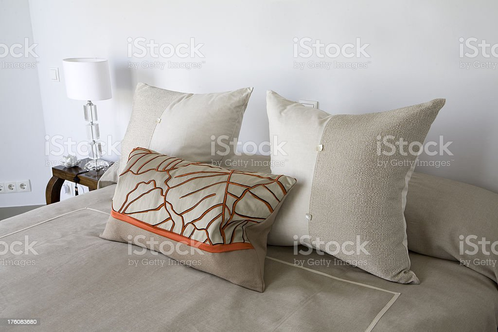 Luxury Bed and Cushions royalty-free stock photo