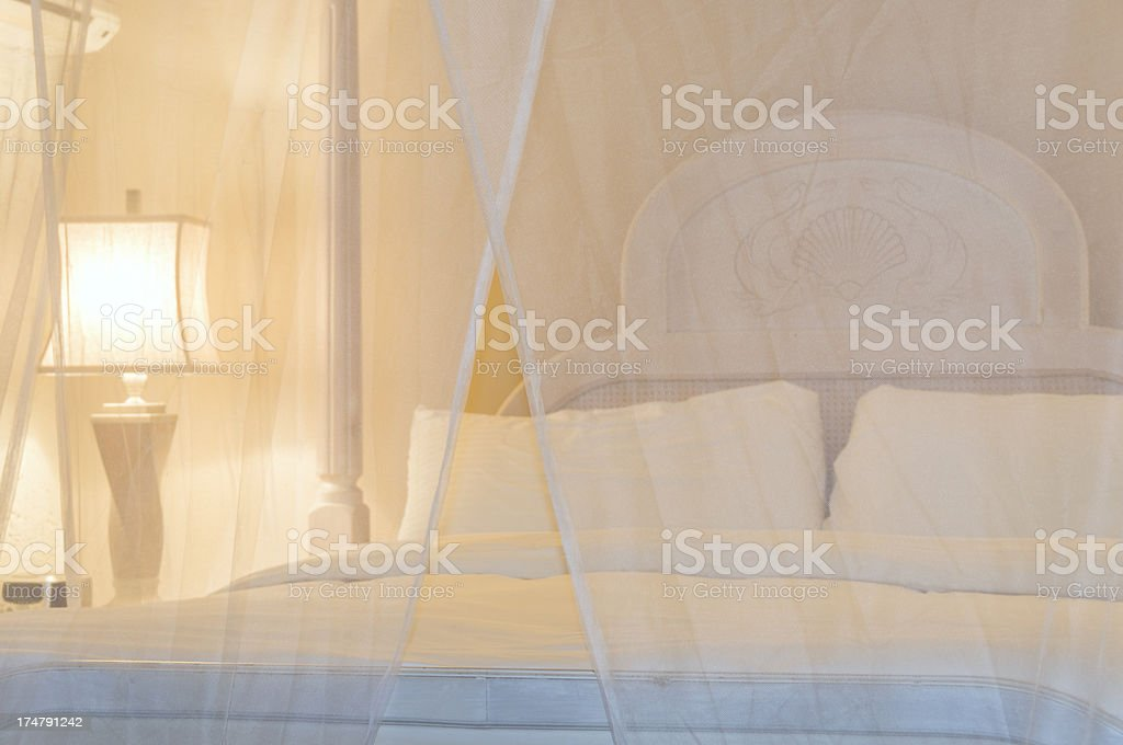 Luxury Bed with Moquito Netting stock photo