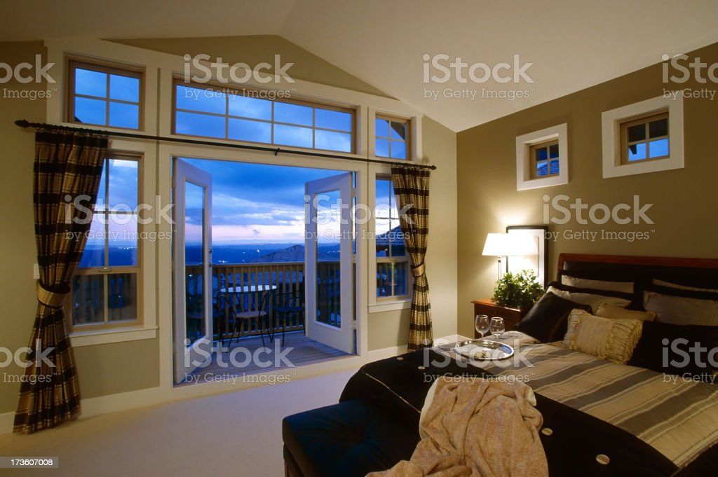 luxury bedroom estate home stock photo