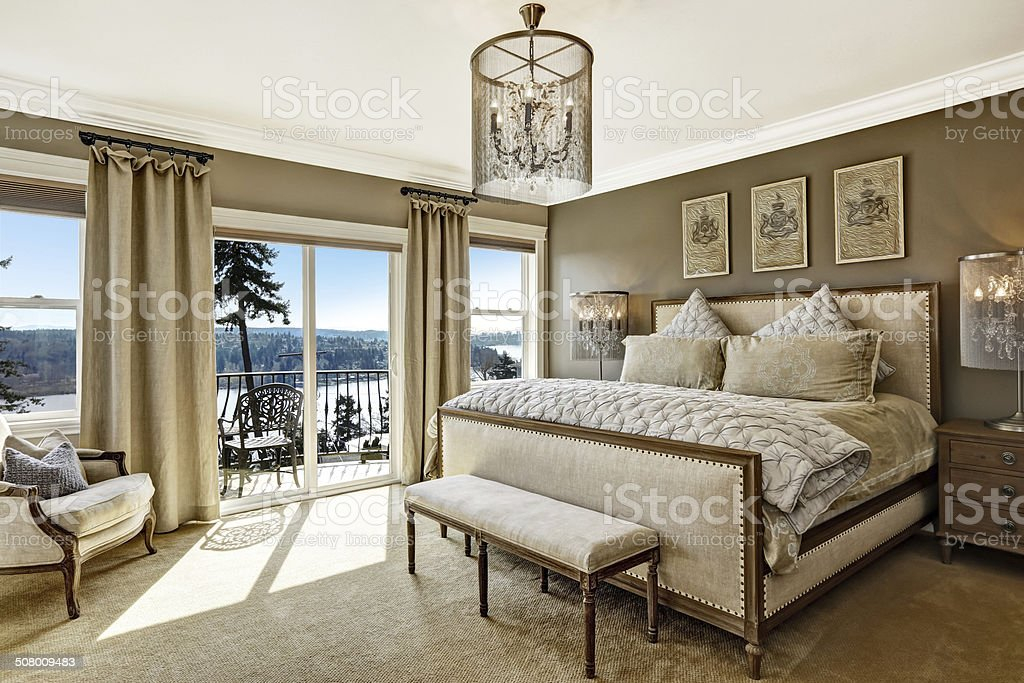 Luxury bedroom interor with scenic view from deck stock photo