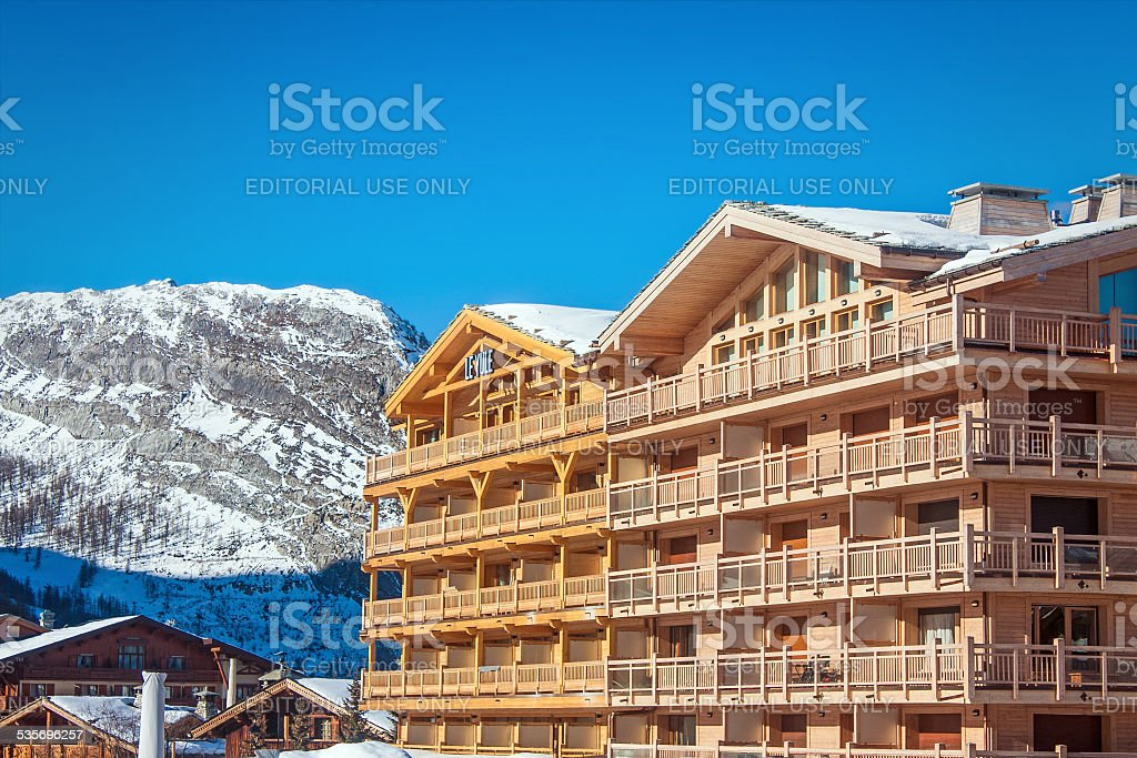 Luxury big chalet in the Alps stock photo