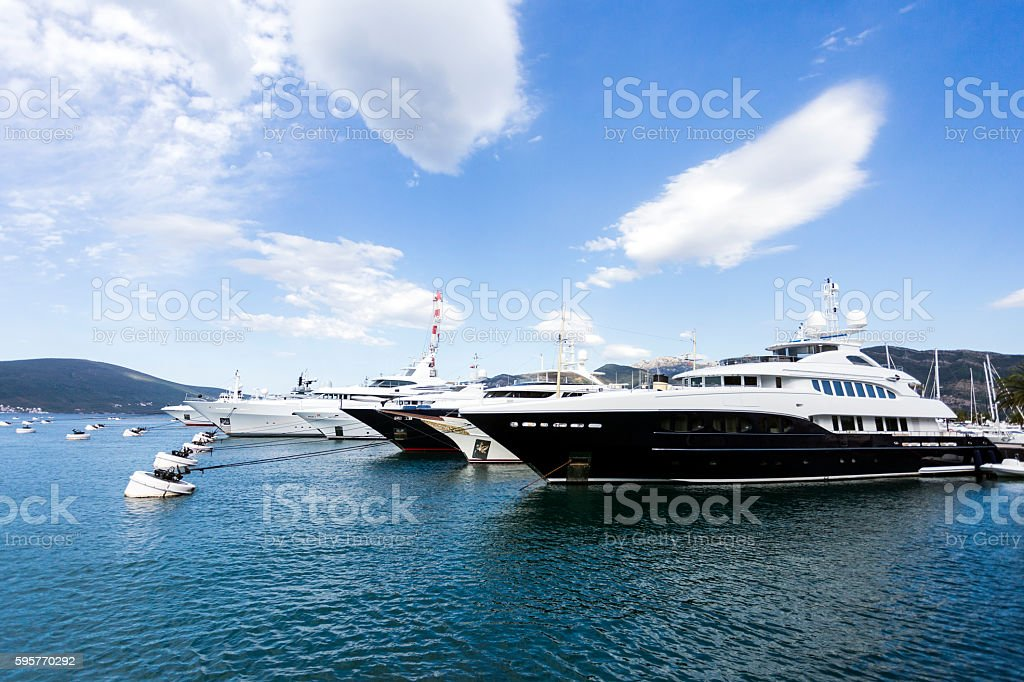 Luxury big motor yachts stock photo