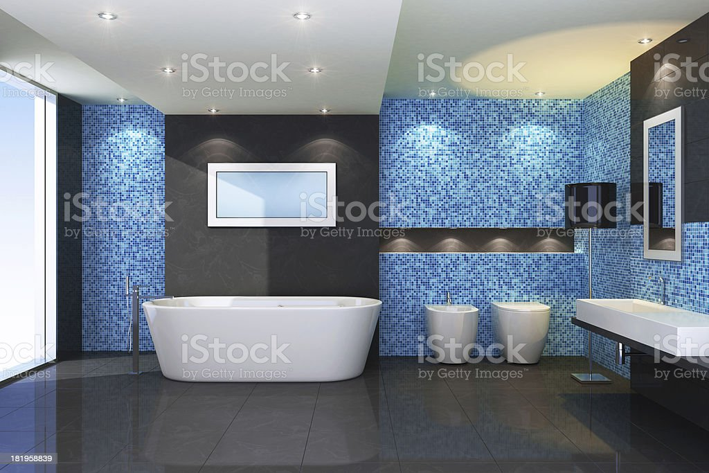 Luxury Blue Bathroom royalty-free stock photo