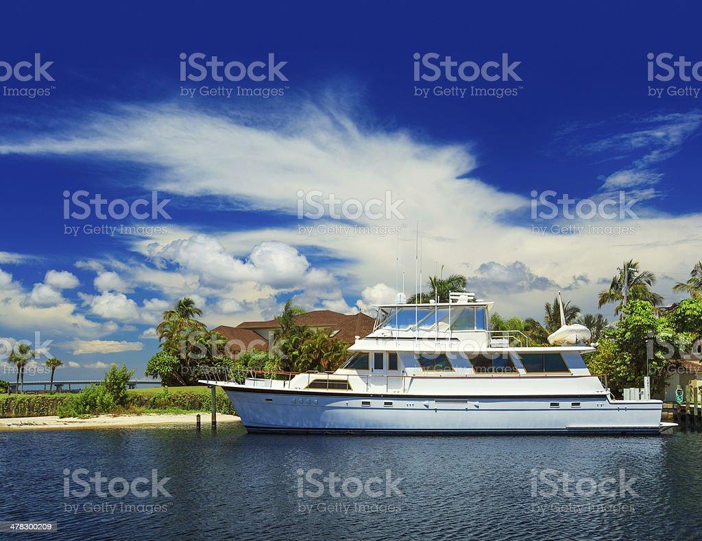 luxury boat docked royalty-free stock photo