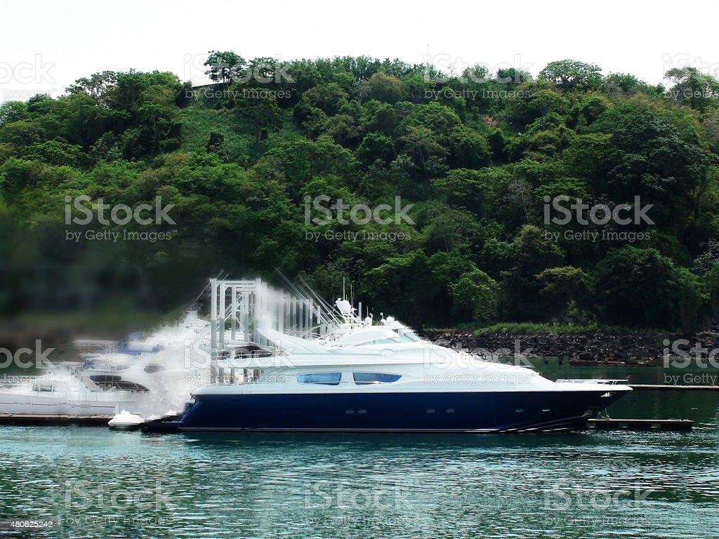 Luxury Boat In Motion At Shelter Bay Marina Colon Panama stock photo